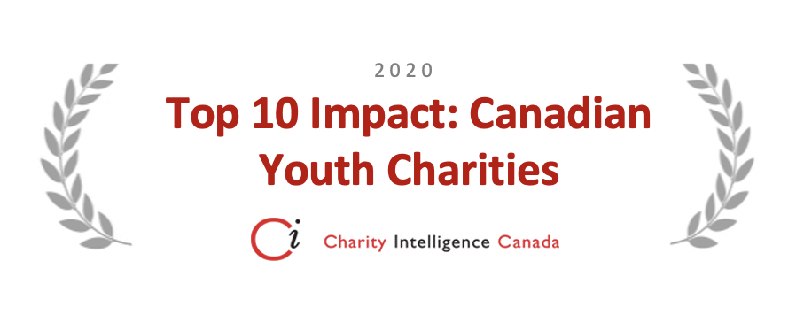 Charity Intelligence Canada logo with award for Top 10 Impact: Canadian Youth Charities 2020