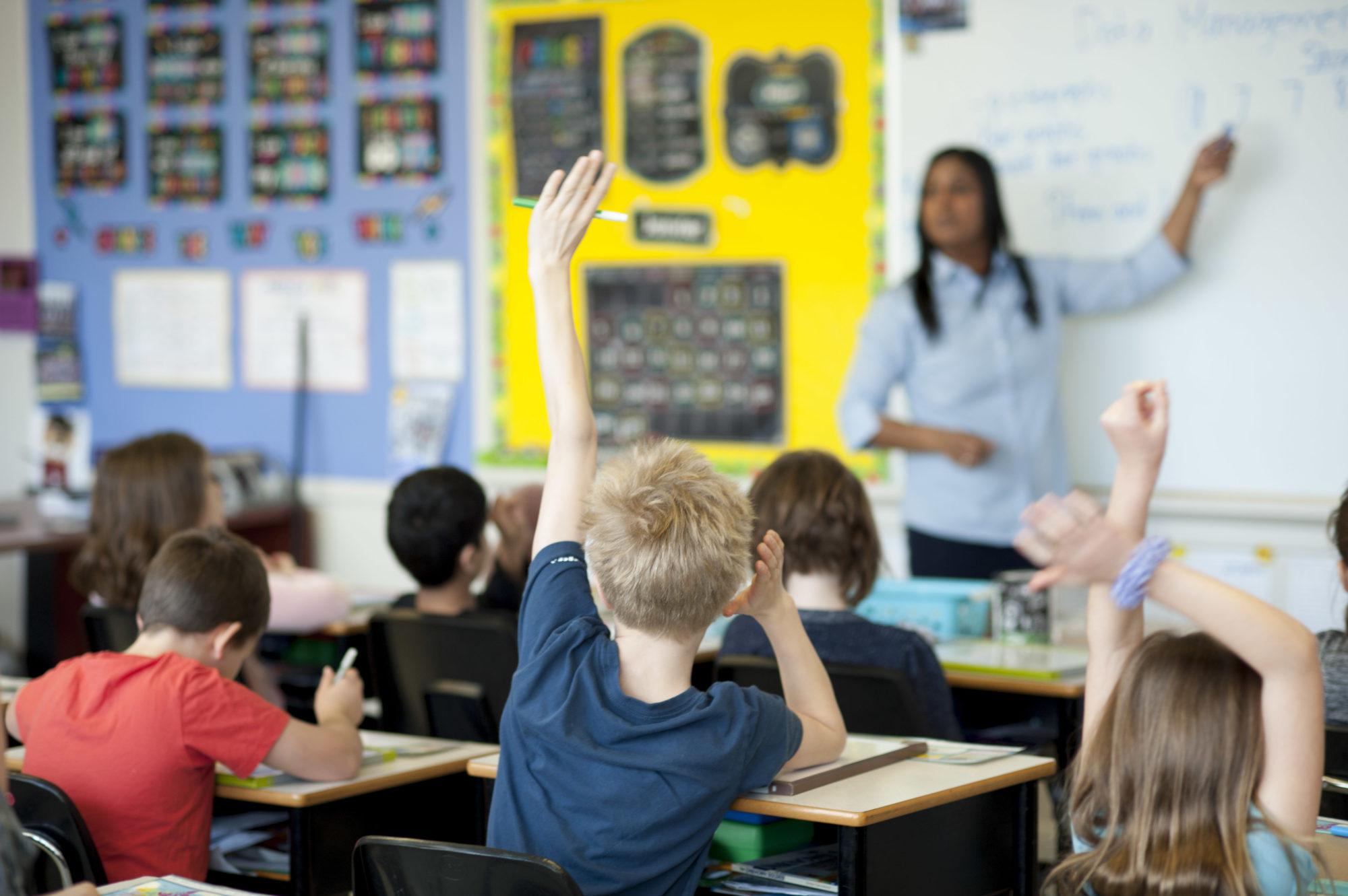 boy raising hand in classroom