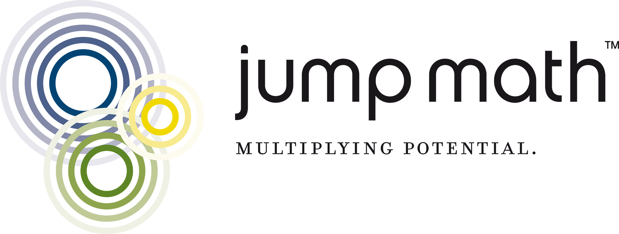 Jump Math circle logo with overlapping circles in blue, yellow and green and JUMP Math text